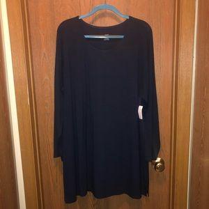 NWT CJ Banks 3x Midnight Navy Blue Tunic T-shirt!